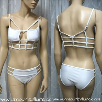 White Cut Out Cage Bondage Bikini Swimsuit Women