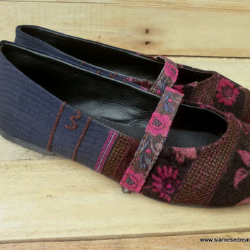 Burgundy Rose and Indigo Ethnic Hmong Embroidered  Ballet Flats Womens Shoes