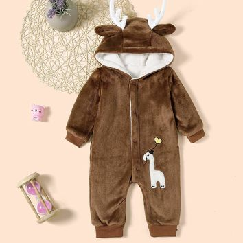 Baby Embroidery Detail Hooded Jumpsuit