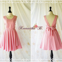 A Party V Charming Dress Powder Pink Backless Dress Prom Party Dress Wedding Bridesmaid Dresses Pink Sundress Pink Cocktail Dresses XS-XL