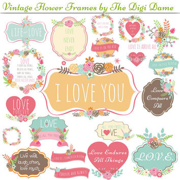 Digital Scrapbooking Elements/Clip Art: Love Vintage Flower Bouquet Frames in Soft Pastel Pink, Mint, Green, Peach and Cream