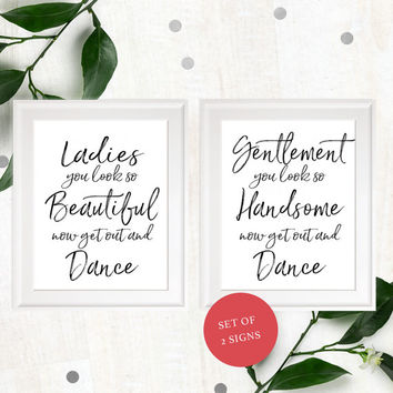 Stylish Hand Lettered Wedding Bathroom Sign-Printable Calligraphy Ladies & Gentlemen Restroom Sign-DIY Handwritten Beautiful and Handsome