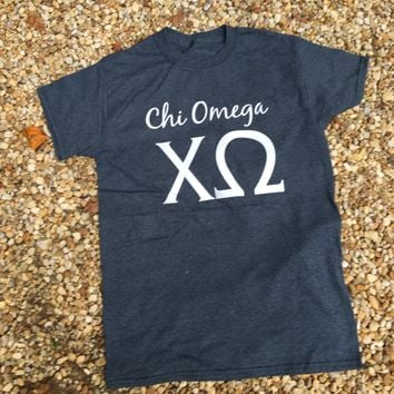 Sorority Tee Grey with White Greek Letters / Greek T-Shirts / Sorority Big Little T-Shirts