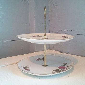 Serving Tray, Two Tier, Pastry Serving Trays, Enesco, Pink, Floral