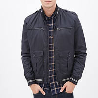 Varsity-Striped Bomber Jacket Navy