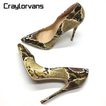 Craylorvans Top Quality Snake Printed Women Shoes Sexy High Heels 2017 Pointed Toe Party  Women Pumps weeding shoes