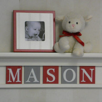 """GRAY and RED Nursery Wall Letters on 24"""" Linen (Off White) Shelf with 5 Red & Gray Letter Plaques Personalized for MASON, Custom Baby Gifts"""