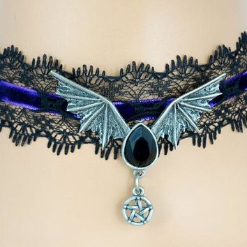 ac spbest Black Lace Purple Velvet Choker with Bat Wing Black Stone Pendant Gothic Jewelry