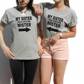 Matching Best Friends Shirts set gift for best friend My SISTER From Another Mister printed t-shirts by FavoriTee Christmas Bestfriends gift