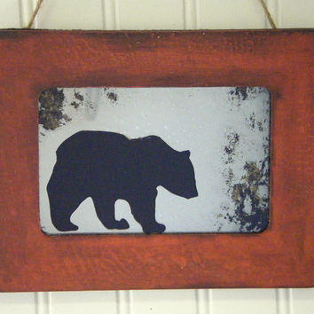 Grizzly Bear Silhouette Wall Art Decor Antiqued Mirror Rustic Red Brown Log Cabin Mountain Wilderness Black Bear Camping Hiking