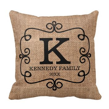 Rustic Faux Burlap Family Name Monogrammed Throw Pillows