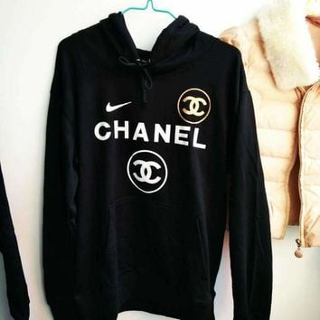 ONETOW Adidas /Chanel x Nike Casual Print Hooded Pullover Tops Sweater Sweatshirts I