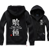 Tokyo Ghouls Ken Kanki Hoodie Clothing Cartoon Anime Hooded Sweatshirt Fleece Cosplay For Adult  Man Coat Pluz Size