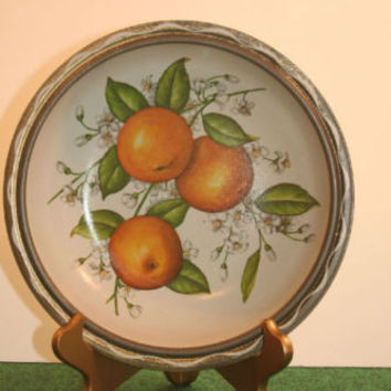 "Orange Vintage Tree Design TIN BOWL~10"" Round Metal~ Serving Dish"