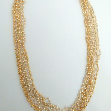 Casual Multilayered Pearl and Gold Chain with Matching Earring