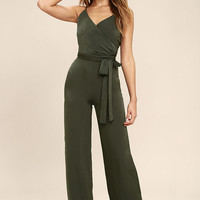 Got You On My Mind Olive Green Jumpsuit