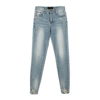 Damaged Ankle Washed Skinny Jeans