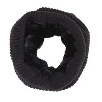 Black Ribbed Knit and Faux Fur Cowl Scarf by Charlotte Russe