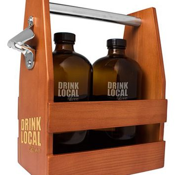 Cathy's Concepts 'Drink Local' Growlettes & Beer Carrier - Brown