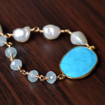 NEW Genuine Turquoise Bracelet, Aquamarine, White Keshi Pearl, Gold Filled, Real Gemstone, Asymmetrical Jewelry, Free Shipping
