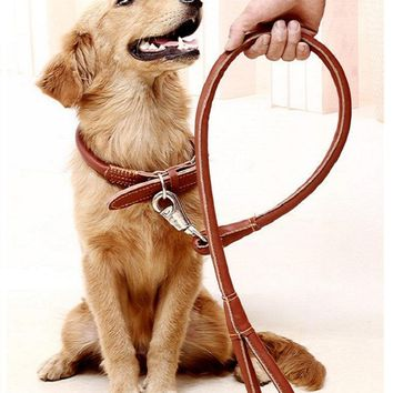 High Quality Leather Big Size Pet Dog Collar Fashion Designed Dog Leash Dog Strap Rope Traction Pet Harness Leash Lead Rope