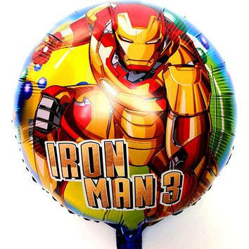 20pcs/lot 18inch IRONMAN foil Balloon round Cute Baby boys Birthday Party iron man balloons superhero Party Decorations Balloon