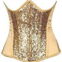 Daisy Corsets Top Drawer Gold Sequin Steel Boned Under Bust Corset