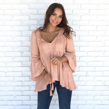 Chakra Woven Top In Apricot