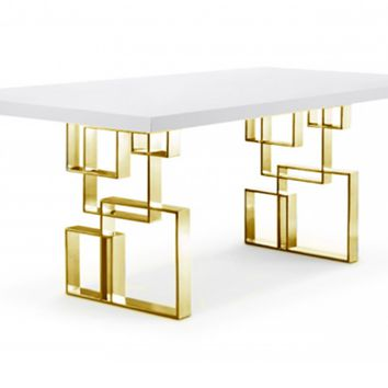 Hines Dining Table WHITE/GOLD - CLEARANCE