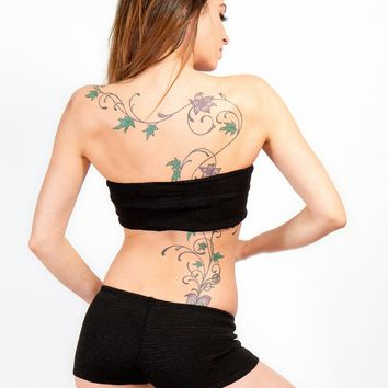 Bare Belly Crop Bandeau & Boy Short Basic by KD dance Perfect For Layering Under Sheer Knits
