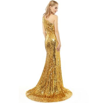 New Sequined Long Prom Dresses One Shoulder Golden Crystals Beading Latest Design Prom Dresses