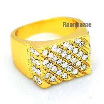 MENS HIP HOP RAPPER CHUNKY ICED OUT SOLID 14K GOLD PLATED RING SIZE 7 - 12 N008G