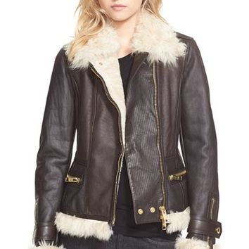 Women's Burberry Brit 'Newgrove' Leather Jacket with Genuine Shearling Trim,