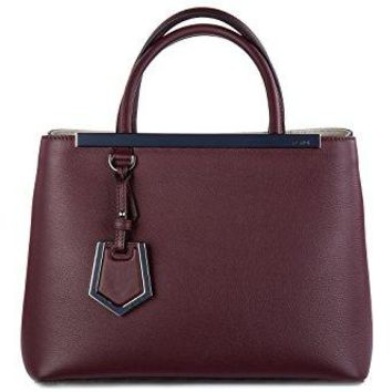Fendi women's leather handbag shopping bag purse petite 2jours bordeaux