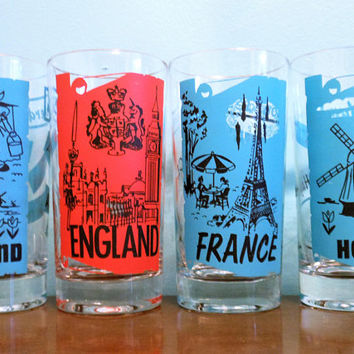 Set of 4 Cities of the World  Tumblers, Countries in Europe Highball Glasses, England, Holland, France,  Mid Century Modern Barware