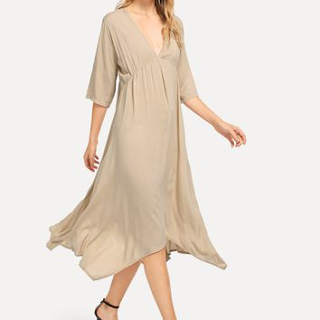 Khaki Deep V-Neck Asymmetric Hem Dress