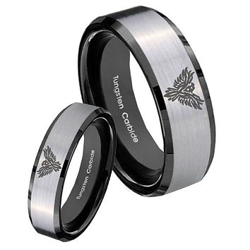 His Hers Silver Black Phoenix 2 Tone Tungsten Carbide Wedding Rings Set