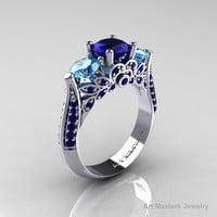 Classic 14K White Gold Three Stone Blue Sapphire Blue Topaz Solitaire Ring R200-14KWGBSBT