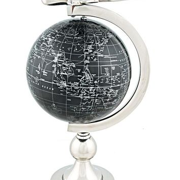 Airplane On Globe W Brass Stand Hancrafted Globes & Globe Bars