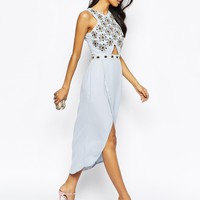 Virgos Lounge Candace Jewelled Bodice Midi Dress With Wrap Front Skirt