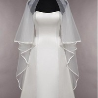 [13.99] Beautiful Tulle Two-tier Veil Matching Your Elegant Wedding Dress - dressilyme.com