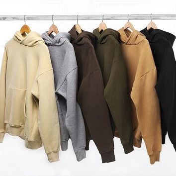 new fashion hip hop streetwear pullovers plain khaki/black fleece oversized hoodie kpop clothes tracksuit hoodies men M-XL