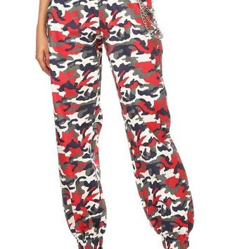 Crazy Sexy Cool Chain Camo Jogger Pants Red