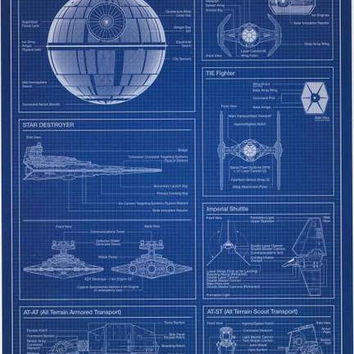 Star Wars Imperial Fleet Blueprint Poster 22x34