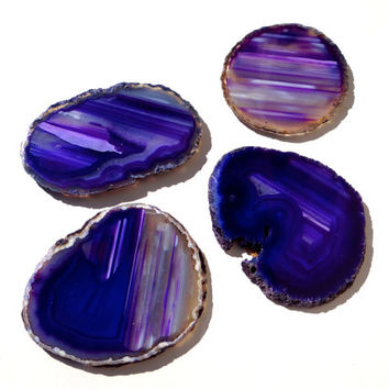Purple Geode Agate Coasters - Set of 4; Purple crystal coaster, sliced crystal coaster, jewel-toned coaster, art, gift, purple stoneware