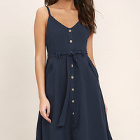 Free and Pier Navy Blue Belted Dress