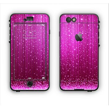 The Abstract Pink Neon Rain Curtain Apple iPhone 6 LifeProof Nuud Case Skin Set