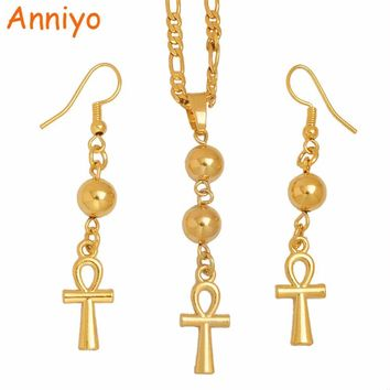 Egyptian Ankh Cross Necklace Earrings Hieroglyph