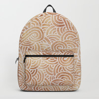 Iced coffee and white swirls doodles Backpacks by Savousepate