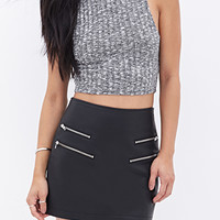 FOREVER 21 Zippered Faux Leather Skirt Black